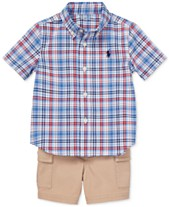 53f377b86 Polo Ralph Lauren Baby Boys Plaid Shirt & Cargo Shorts Set