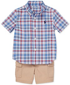 Polo Ralph Lauren Baby Boys Plaid Shirt & Cargo Shorts Set