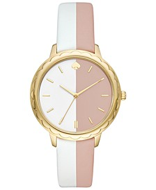 Women's Morningside White & Nude Leather Strap Watch 38mm