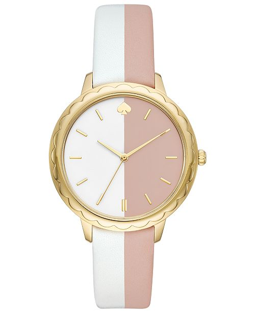 kate spade new york Women's Morningside White & Nude Leather Strap Watch 38mm