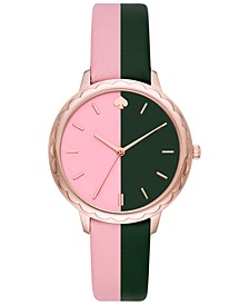 Women's Morningside Pink & Black Leather Strap Watch 38mm