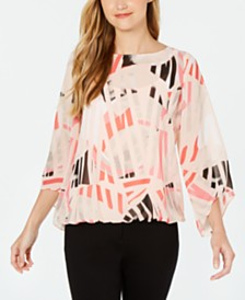 Alfani Printed Bubble Top, Created for Macy's