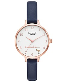 Women's Metro Blue Leather Strap Watch 34mm