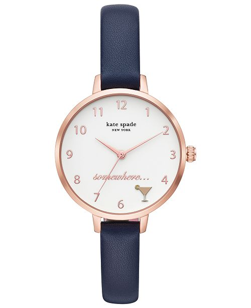 kate spade new york Women's Metro Blue Leather Strap Watch 34mm