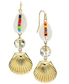 I.N.C. Gold-Tone Multicolor Bead Shell Triple Drop Earrings, Created for Macy's