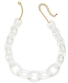 "I.N.C. Gold-Tone White Link Frontal Necklace, 18"" + 3"" extender, Created for Macy's"