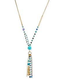 "I.N.C. Gold-Tone Bead & Crystal Lariat Necklace, 28"" + 3"" extender, Created for Macy's"