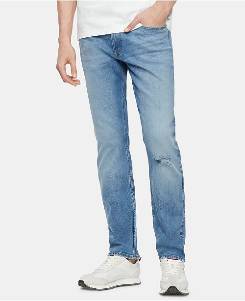 Calvin Klein Jeans Men's Straight-Fit Stretch Destroyed Jeans