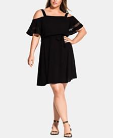 City Chic Trendy Plus Size Crochet-Trimmed Fit & Flare Dress