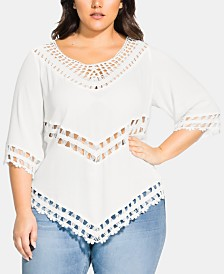 City Chic Trendy Plus Size Crochet-Trim Point-Hem Top
