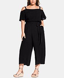 City Chic Trendy Plus Size Adjustable Cold-Shoulder Jumpsuit