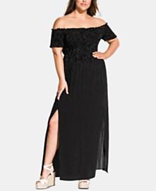 City Chic Trendy Plus Size Polka Dot Smocked Maxi Dress