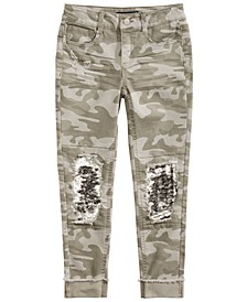 Big Girls Distressed Camo-Print Sequined Jeans