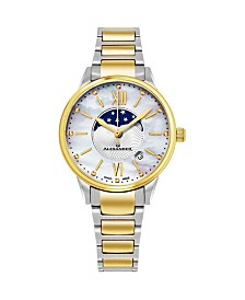 Alexander Watch A204B-04, Ladies Quartz Moonphase Date Watch with Yellow Gold Tone Stainless Steel Case on Yellow Gold Tone Stainless Steel Bracelet