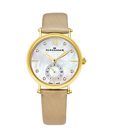 Alexander Watch AD201-02, Ladies Quartz Small-Second Watch with Yellow Gold Tone Stainless Steel Case on Gold Satin Strap