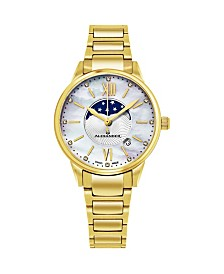 Alexander Watch AD204B-05, Ladies Quartz Moonphase Date Watch with Yellow Gold Tone Stainless Steel Case on Yellow Gold Tone Stainless Steel Bracelet