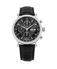 Alexander Watch A474-01, Stainless Steel Case on Black Alligator Embossed Genuine Leather Strap