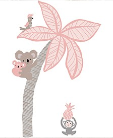 Calypso Coral/Taupe Koala and Palm Tree Nursery Wall Decals/Appliques