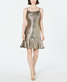 Metallic Flounce Midi Dress