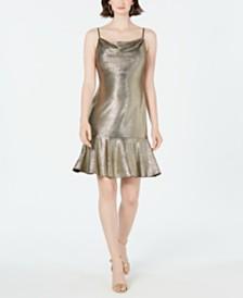 Nightway Metallic Flounce Midi Dress