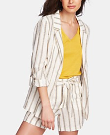 1.STATE Cabana Stripe Roll-Tab-Sleeve Blazer & Striped Belted Shorts