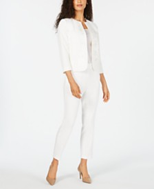 Kasper Embroidered Jacket & Draped Pants
