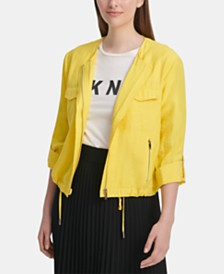 DKNY Roll-Tab Zip-Front Jacket