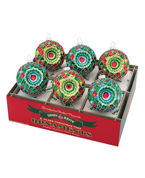 "Christopher Radko Holiday Splendor 6 Count 3.25"" Decorated Faceted Rounds With Reflectors"