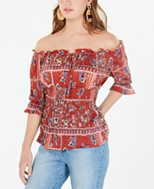 Crave Fame Juniors' Printed Smocked-Waist Peasant Top