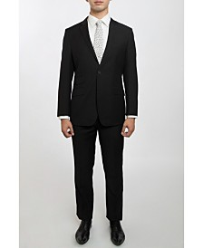 English Laundry Two Button Notch Lapel Slim Fit Men's Black Suit With Flat Front Pants