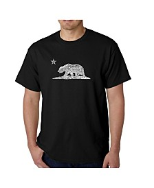 LA Pop Art Mens Word Art T-Shirt - California Bear