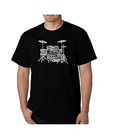 Mens Word Art T-Shirt - Drums