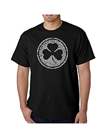 Mens Word Art T-Shirt - Irish Eyes Clover