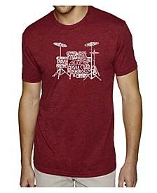 Mens Premium Blend Word Art T-Shirt - Drums