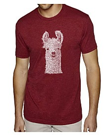 LA Pop Art Mens Premium Blend Word Art T-Shirt - Llama