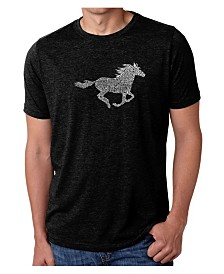 LA Pop Art Mens Premium Blend Word Art T-Shirt - Mustang