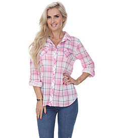 White Mark Women's Oakley Stretchy Plaid Top