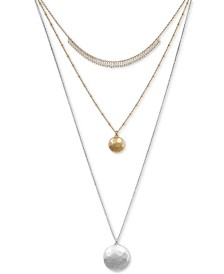 "Lucky Brand Two-Tone Multi-Row Layer 30"" Pendant Necklace"