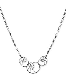 """Lucky Brand Silver-Tone Interlocking Shell Charm Collar Necklace, 18"""" + 2"""" extender"""