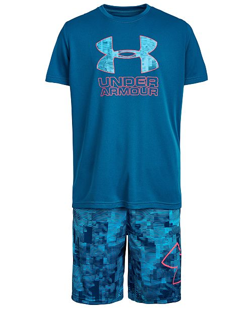 Under Armour Big Boys Charged Cotton® Print Fill Logo T-Shirt & Printed Shorts Separates