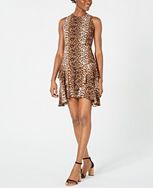 Animal-Print Asymmetrical A-Line Dress