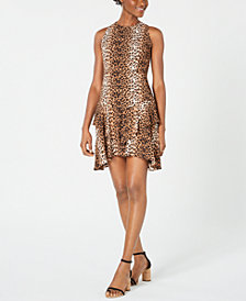 19 Cooper Animal-Print Asymmetrical A-Line Dress
