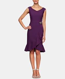 Alex Evenings Embellished Ruffle-Hem A-Line Dress