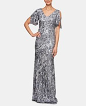 21f1182a Alex Evenings Sequinned Cold-Shoulder Gown