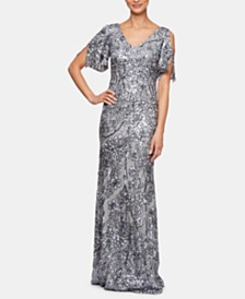 Alex Evenings Sequinned Cold-Shoulder Gown