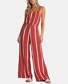 Juniors' Printed Strappy-Back Jumpsuit