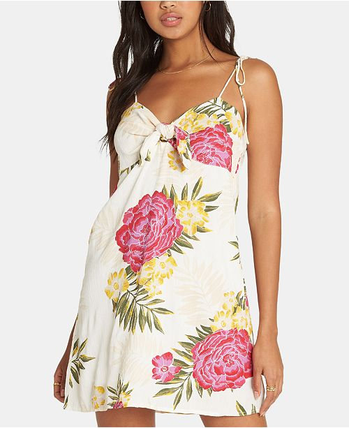 Billabong Juniors' Tie Strap Floral Print Mini Dress