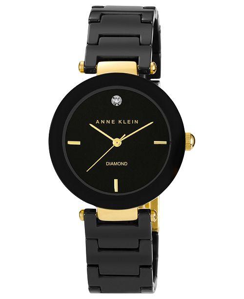 Anne Klein Watch, Women's Diamond Accent Black Ceramic Bracelet 33mm AK-1018BKBK