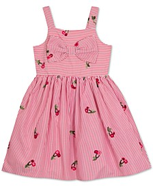 Little Girls Pinstripe Cherry Embroidered Sundress
