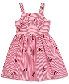 Rare Editions Little Girls Pinstripe Cherry Embroidered Sundress